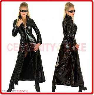 New Black Faux Leather PVC Vinyl Long Full Length Coat Jacket Matrix