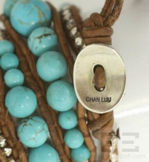 Chan Luu Sterling Silver And Turquoise Leather Wrap Bracelet