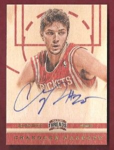 Chandler Parsons on Card Auto Wood Rookie Panini Threads 2012 13 182