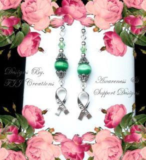Green Swarovski Beads Hope Ribbon Awareness Jewelry Earrings Support