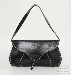 Celine Black Patent Leather & Silver Studded Shoulder Flap Bag