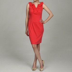 New Julian Taylor Womens Ruffle V Neck Dress Color Coral
