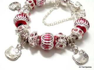 Hot Pink Hello Kitty Heart Child Charm Bracelet