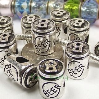 Beer Can Charm Large Hole Add a Bead fit European Charm Bracelet C166