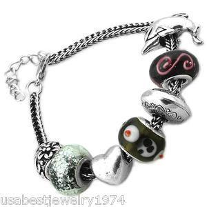 Black Charmed Bead Crystal Set in Metal Bracelet Memories Charms