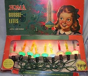 Noma Bubble Lites String of 9 in Box Christmas Lights