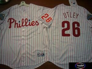 Majestic Phillies Chase Utley Sewn 2008 World Series Baseball Jersey