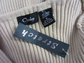 Chesley Stretch Beige Tan Ribbed Scoop Neck Fitted Winter Warm Sweater
