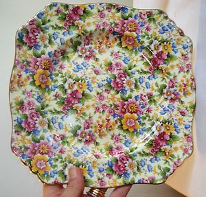 antique Royal Winton CHEADLE chintz GRIMWADES SQUARE FLORAL PLATE DISH