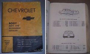 CHEVROLET CHEVELLE CAMARO NOVA Z28 SS 396 454 BODY PARTS AND