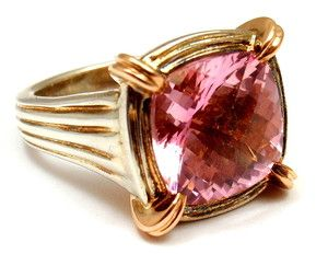 CHARLES KRYPELL 18K ROSE GOLD STERLING SILVER PINK TOPAZ RING