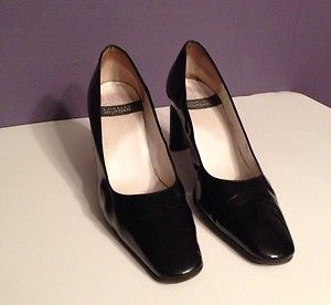CHARLES JOURDAN CLASSIC BLACK PATENT LEATHER PUMPS Shoes SZ 9 1 2 MADE