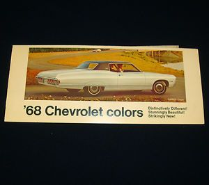 1968 Chevrolet Colors Paint Chip Samples Camaro Corvette Chevelle Nova