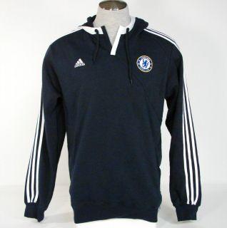 Adidas Chelsea Football Club Hoodie Navy Blue Hooded Sweatshirt Mens