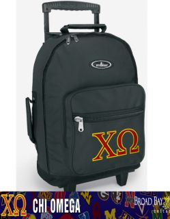 Chi Omega Rolling Backpack Chi O Sorority Carry on Backpacks Wheels