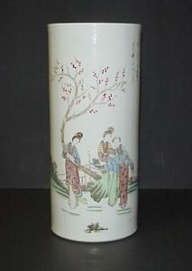 Pottery Cylinder Vase Hand Painted Women Cherry Blossom Tree