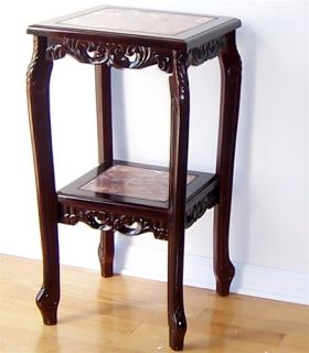 Cherry Marble Square 2 Tier Plant Stand Table 30 OR36