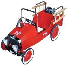 Red Fire Engine Pedal Car Kids Children Ride On Metal Tin Toy Cyclops
