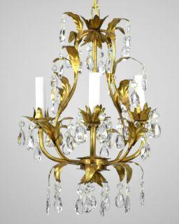 Antique Crystal Pendant Chandelier Vintage Gold Leaf Gilt Gilded
