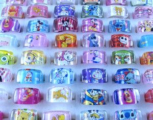 Lots 10pcs Childrens Jewelry Cartoon Character Resin Ring