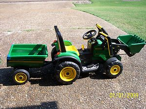 Childrens John Deere Power Loader with Trailer Kids Riding Battery Toy