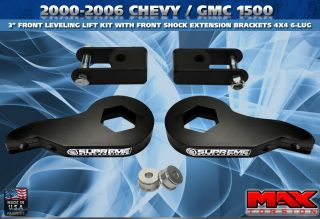 99 07 Chevy 1500 4x4 6 Lug 3 Front Leveling Lift Kit w Shock