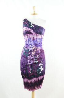 Suzi Chin Maggy Boutique Purple Crinkle Silk Floral Cocktail Dress 6