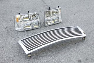 Chevy Silverado Tahoe 99 02 Chrome 1pc LED Headlights Front Grill