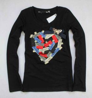 Girls Diamond Moschino Heart Black T Shirt Size s M L XL 18044