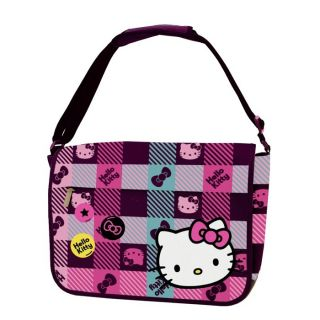 check cute hello kitty messenger bag pattern check leather bottom