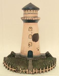ANTIQUE CAST IRON DOORSTOP WITH LIGHTHOUSE CAPE COD STYLE MASSIVE 10