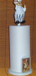Fat Chef Paper Towel Holder Figurine Wood Bistro Decor White Brick