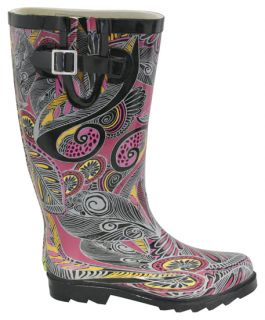 Chooka Womens Karma Rubber Rain Boots Pink Shoes 10 New