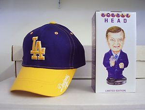 Dodgers Lakers Hat and Chick Hearn Los Angeles Bobble Bobblehead SGA