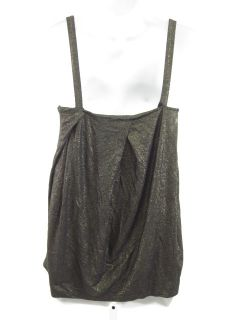 you are bidding on a chelsea theodore gold sleeveless shirt top in a