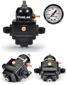 Fuelab 52901 1 Electronic Fuel Pressure Regulator with Gauge 6AN Black