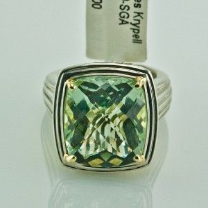 Charles Krypell 14k Yellow Gold Sterling Silver Green Amethyst Ring