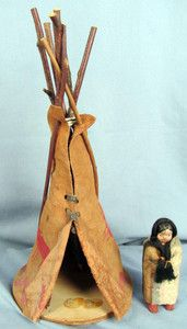 Cherokee Indian Doll and Teepee Qualla reservation North Carolina