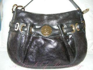Charles David Snake Print Leather Large Hobo Purse Bag Black