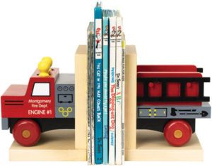 Fire Truck Wood Bookends Childrens Room Decor Maple Non Skid Made in