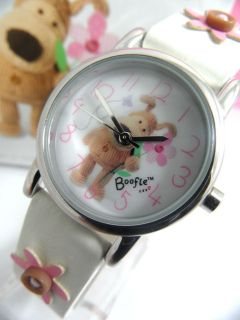 Childrens Kids Girls Boofle Watch Snugglesome Pup White Flower Strap