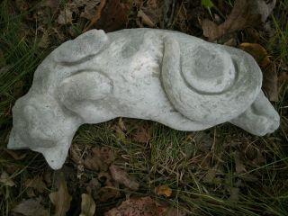 Vintage Concrete Lying Sleeping Cat Garden Statue Cement Lawn Ornament ...