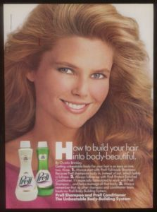 1986 Christie Brinkley Photo Prell Shampoo Print Ad