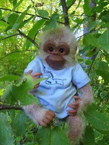 Reborn Life Like Realistic Albino Ape Monkey Chimpanzee OOAK Handmade