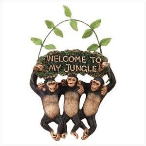 Happy Chimpanzees/Monkeys & Vine WELCOME To My Jungle Hanging SIGN