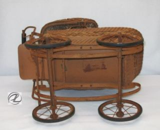 Antique Carriage Baby Vintage Doll Buggy Early 1900s Lloyd Wicker