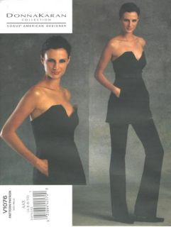 Misses Knit Strapless Tunic Pants Sewing Pattern Donna Karan Vogue