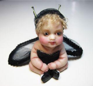 Chloe Black Tutu Baby Fae Polymer Clay OOAK Doll Fairy by Amanda Day