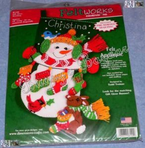 Dimensions Gift Giver Snowman Bunny Felt Christmas Stocking Kit