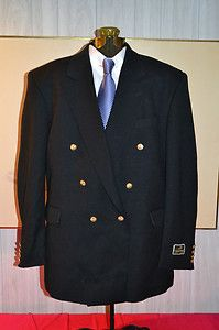 Blazer New Mens Navy Blue J D Christopher London NY Double Breasted